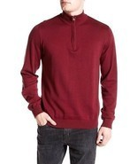 NEW $88 REPORT COLLECTION BURGUNDY SLIM FIT 1/2 ZIP MOCK NECK SWEATER SI... - £11.55 GBP