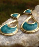 Vintage Pearly Green Enamel Dangle Post Earrings - $45.00