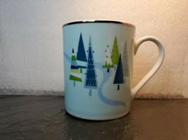 Home Coffee Mug Blue Green Christmas Trees Platinum Silver Rim - $14.84