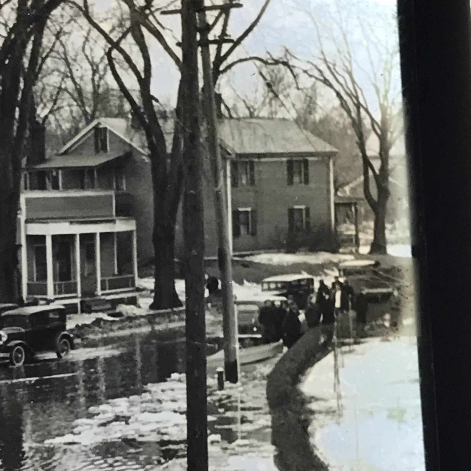 Vtg Magic Lantern Glass Slide Photo Flooded Town Streets Old Cars
