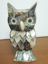 Vintage Abalone and Mother of Pearl Owl - $11.87