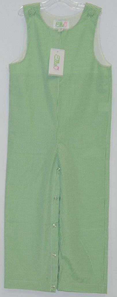 Ellie O Gingham Full Lined Cotton Polyester Blend Longall Size 3 Color Green