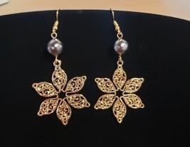Plumeria Tribal Pearl Filigree earrings - $20.00