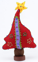 Christmas Felt Table Top Tree Décor Accent Piece Red Yellow Beaded - $24.75