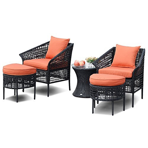 Hulaloveshop 5 PCS Furniture Sets Leisure Patio Rattan Dining Sets