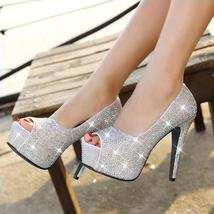Sparkling rhinestone wedding shoes open toe high-heeled shoes women's pa... - $99.99+