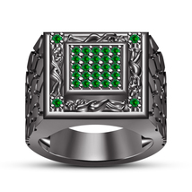 14k Black Gold Fn 925 Silver Green Sapphire Men's Kama Sutra Ring Free Shipping - $138.80