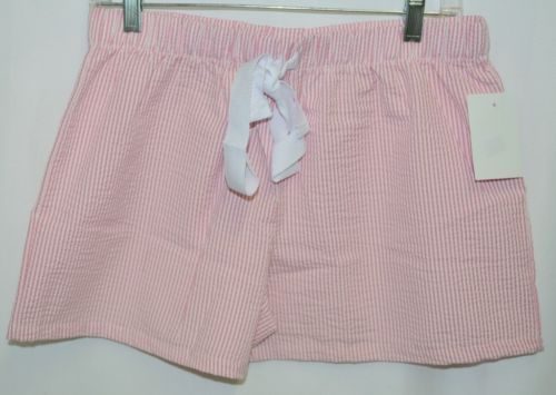 Ellie O Womens Seersucker Lounge Shorts Pink Stripe Size Medium