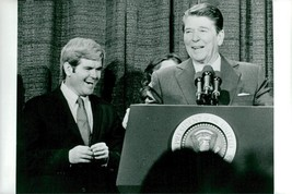 Vintage photo of Newt Gingrich with Ronald Reagan at a charity gala - $9.41