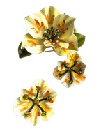 60s 70s LARGE Summer Flower Brooch Earring Jewellery Set, Yellow Green O... - $47.00