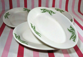 VTG Homer Laughlin Restaurant Ware Green Airbrush 4pc Oval Au Gratin Sid... - $24.00