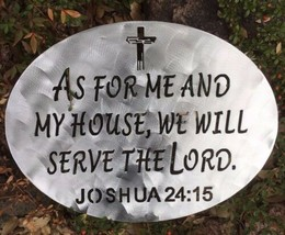 """As For Me and My House Metal Wall Art decor 15 1/2"""" x 11 1/2"""" polished steel - $34.63"""