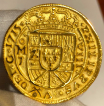 MEXICO REPO 1715 FLEET ROYAL 8 ESCUDOS NGC GOLD PLATED PIRATE TREASURE COIN - $299.00