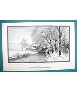WINTER SOLITUDE Stream Mill Trees by LUNDBY - VICTORIAN Era Print - $18.90