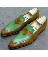 Handmade Men Fashion style Two tone shoes, Men green color and brown moc... - $169.99