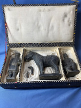 Vintage Original Chinese Set of Stone Pottery Figurines Original Padded Box - $59.99