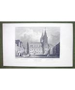 GERMANY Rhine River Boppart Church - 1840s Antique Print Engraving - $13.05