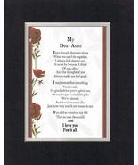 Touching and Heartfelt Poem for Extended Family Members - My Dear Aunt P... - $19.95