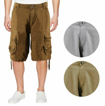 Men's Relaxed Fit Multi Pocket Cotton Casual Military Cargo Shorts image 1