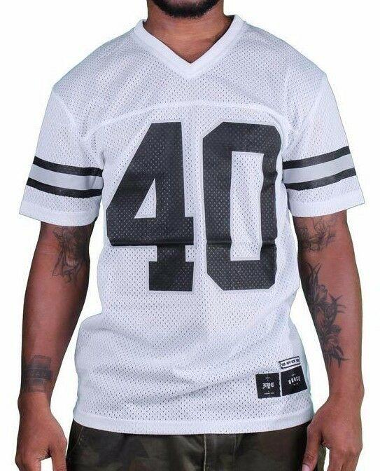 1183ml New York Quaranta Ounce Nyc Bianco Nero Rete Calcio Maglia Shirt 03493F