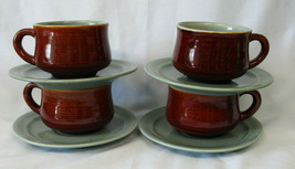 Red Wing Village Green Cup & Saucer, Set of 4 - $36.52