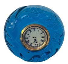 Fenton Art Glass Cobalt Blue Table Clock Figurine Gift decor Royal Flowe... - $123.75