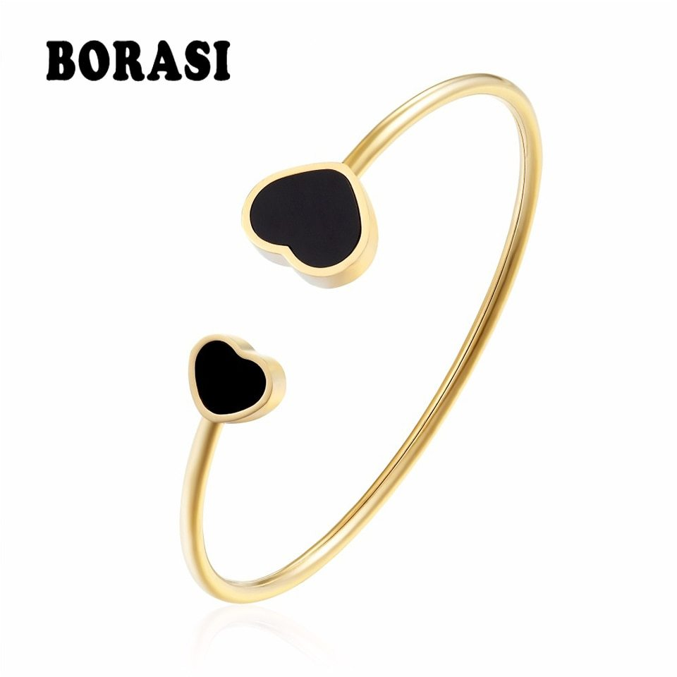 Primary image for BORASI New Stainless Steel Heart Love Bracelets & Bangles For Women Trendy Charm