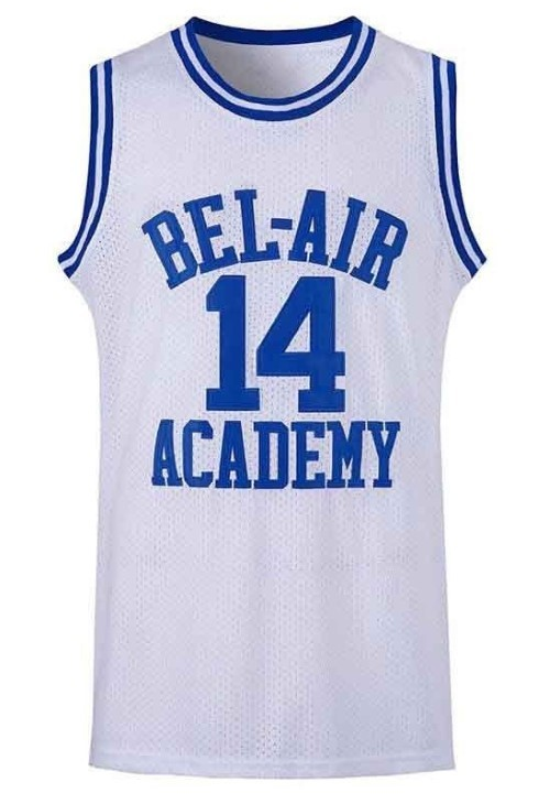 Smith  14 bel air academy basketball jersey white   1