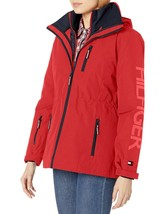 Tommy Hilfiger Rot Marine Damen 3 IN 1 Systems Jacke Mit Abnehmbare Kapuze Groß