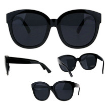 Womens Horn Rim All Black Plastic Round Boyfriend Sunglasses - $9.95