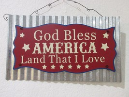 Patriotic 4th of July Hanging GOD BLESS AMERICA Metal Wall Door Sign Decor - €14,55 EUR