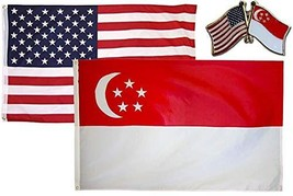 ALBATROS USA with Singapore Country 3 ft x 5 ft 3x5 Flag with Lapel Pin ... - $31.01