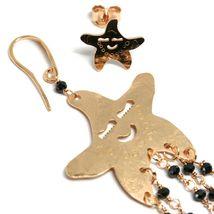 Drop Earrings 925 Silver, Starfish, Medusa, le Favole, Spinel Black image 4