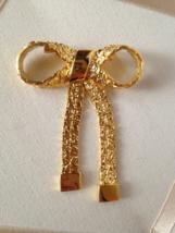 Vintage Gold Tone Nugget Fashion Bow Brooch - $30.00