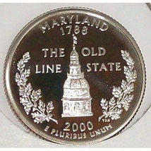 2000-S Clad Proof Maryland State Quarter PF65DC #431 - $2.39