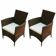vidaXL 2x Garden Chairs Poly Rattan Wicker Brown Patio Outdoor Furniture... - $124.99