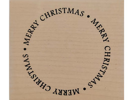 Denami Design 2009 Merry Christmas Wood Mounted Rubber Stamp
