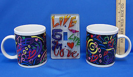Pair of  Coffee Mugs Cups With Colorful Heart Design & Love Light Switch Plate - $18.80