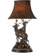 Sculpture Table Lamp MOUNTAIN Rustic Grand Stags Pheasant - $1,389.00