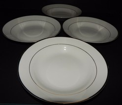 4 Gibson Designs Housewares Everyday China White Gold Rim Soup Cereal Bowls - $34.64