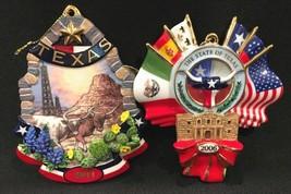 "Danbury Mint Texas Cattle Drive & Texas Pride 4"" Christmas Ornaments 200... - $44.99"