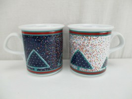 Dansk Winterfest Coffee Mugs Set of 2 Holiday Christmas 14oz  Lot porcelain - $18.99