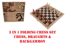 CHESS CHECKERS BACKGAMMON 3IN1 FOLDING SET BOARD GAME WOODEN BOARD FAMIL... - $45.54
