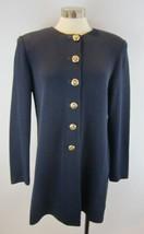 ST JOHN Navy Santana Knit Long Logo Button Round Neck Jacket Side Vents M - $158.39