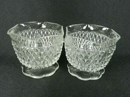 2 Indiana Glass Diamond Point Condiment Bowls Scalloped Rim Footed Open ... - $17.81
