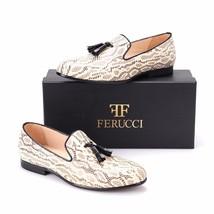 Handmade FERUCCI Men Snake pattern Leather with Black Tassel Slipper loafer - $179.99