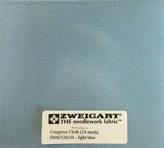 Zweigart Congress Cloth Blank 24 Mesh Needlepoint Canvas Light Blue 24 Ct Canvas - $9.98+