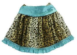 5 Authentic Trish Scully Leopard Faux Fur Skirt Teal Satin Trim Fleur De Lis Top image 3