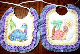 "Bibs Handcrafted XStitched - Decorated & Backed ""DINO FUN"" matches quilt - $39.99"