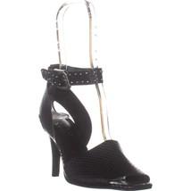 Franco Sarto Pepita Ankle Strap Sandals, Black Leather, 6 US / 36 EU - £41.43 GBP